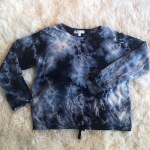 Girls long sleeve tie dye top with tie front